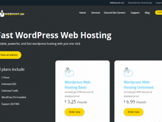 Wordpress web hosting unlimited SSD