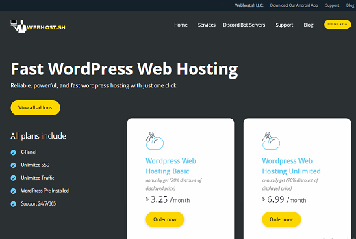 Wordpress web hosting unlimited SSD